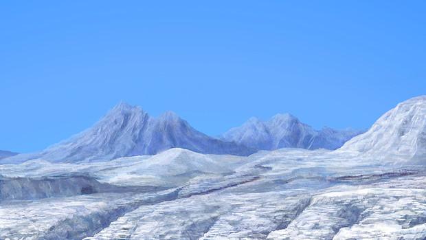 ダイス目によってクレバスに落ちる雪山背景 偽もの さんのイラスト