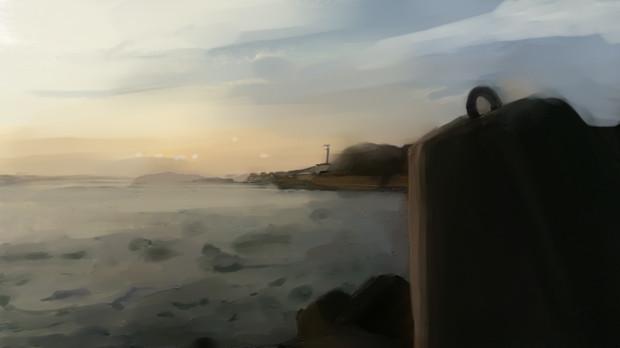 初ペンタブ「夕日に染まる防波堤」