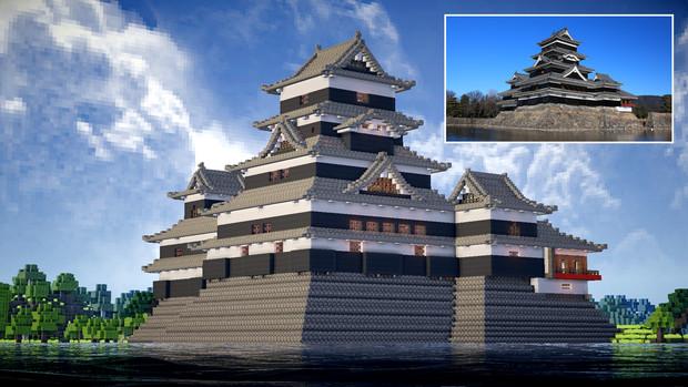【Minecraft】松本城天守の実写比較