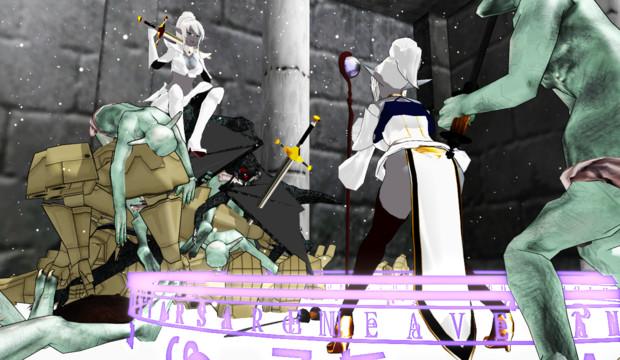 【MMD】剣士vs魔術師!