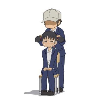 【GIFアニメ】唐沢がモトハルの髪をゆさゆさしてるだけ