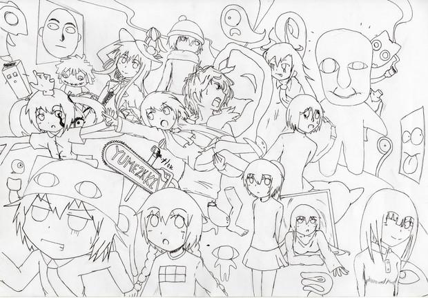 美術の自由課題でキャラクター沢山描いてみた