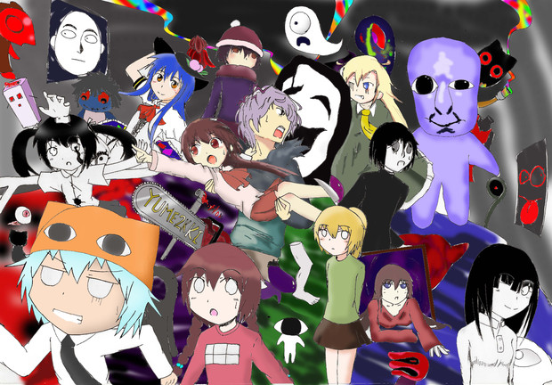 美術の課題でキャラクターを沢山描いてみた(色付けしてみた)