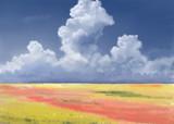 花園と入道雲――フリー素材