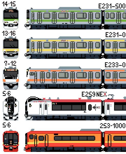 【ドット絵】JR東日本・新宿駅発着の車両群その1