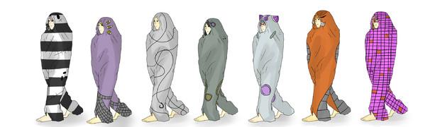 暗殺チームの皆様が歩ける寝袋を買ったようです。