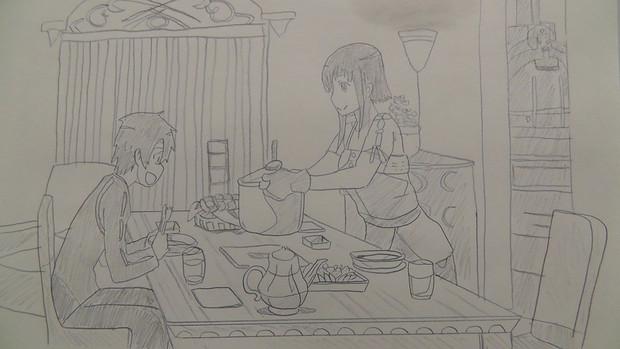 シャーペン落書き 幸せな食卓 (SAO)サチの手料理