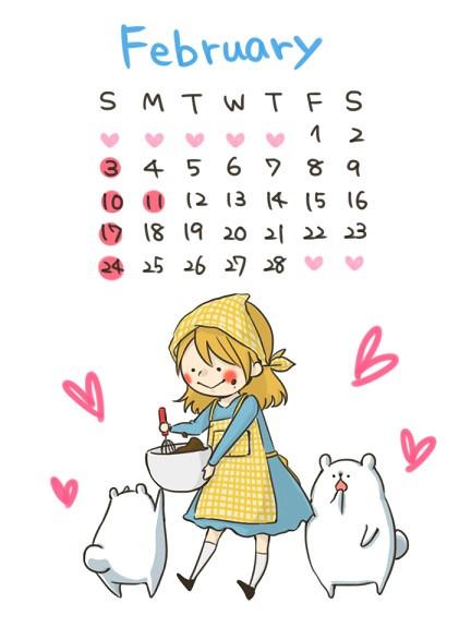 2月カレンダー こゆるぎ さんのイラスト ニコニコ静画 イラスト