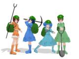 【MMD】河城にとりとモブ河童+小道具【モデル配布】