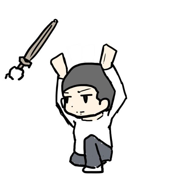 【GIFアニメ】ウッチーの白刃取り