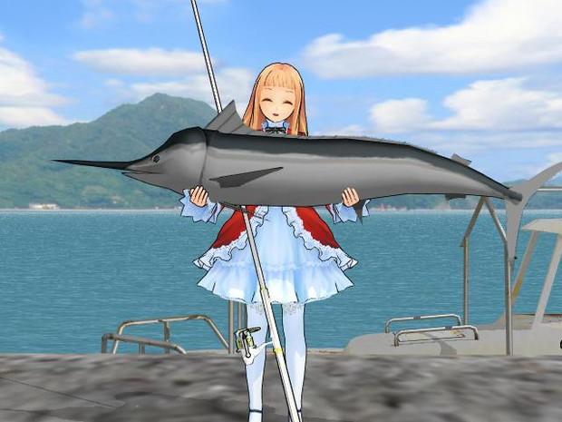 【MMD】上手に釣れましたぁ~【クロカジキモデル配布】