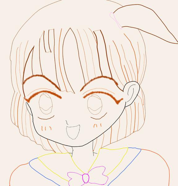 女の子塗り絵していってね(単色) ぬり絵 落書き 初心者 マウスで線書きしてみた。