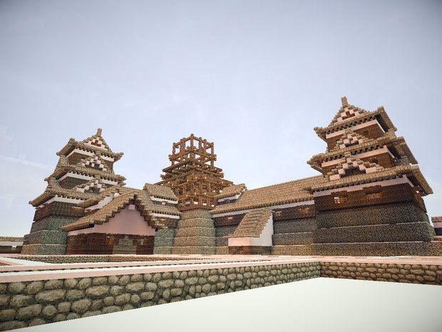 広島城天守 骨組み 御殿側