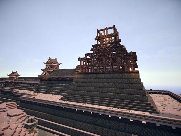 広島城天守 正面骨組み