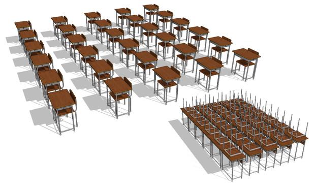 学校の机と椅子(整列)