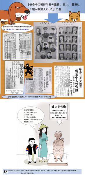 従軍慰安婦問題の資料と風刺画の合体イラスト