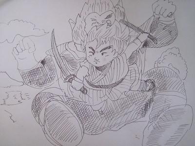 大猿大変身ベジータ。ヤジロベーが斬る