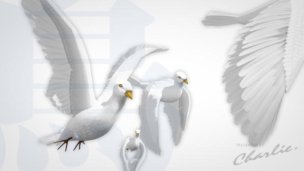 【MMD-OMF3】謎の白い鳥「くるっくー」ハイポリモデル