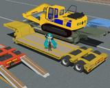 【MMD-OMF3】重機運搬用低床トレーラー