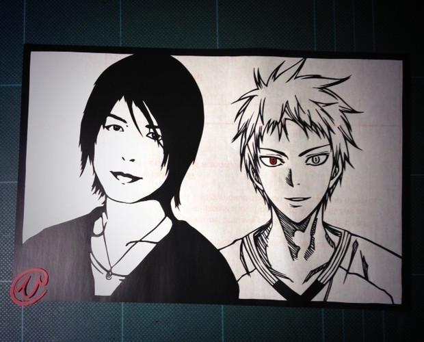 切り絵「赤司さんと浩史さん」