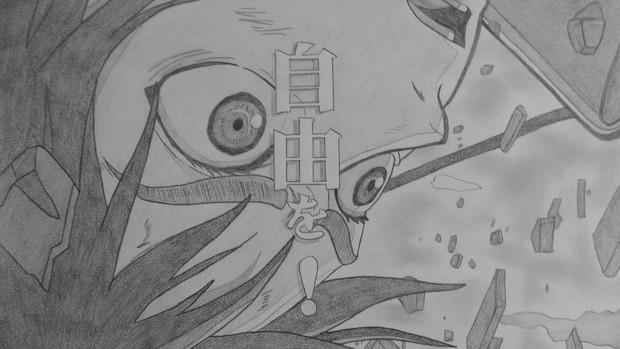 シャーペンGIF 進撃の巨人OP・空中のエレン