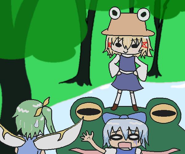チルノは食われ、諏訪子は勝ち誇り、大ちゃんはそれを見守る