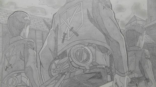 【シャーペンGIF】進撃の巨人OP(調査兵団)戦う覚悟だ♪part01