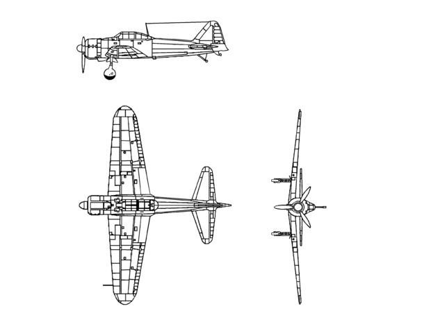 零式艦上戦闘機 設計図風 (塗り絵用)