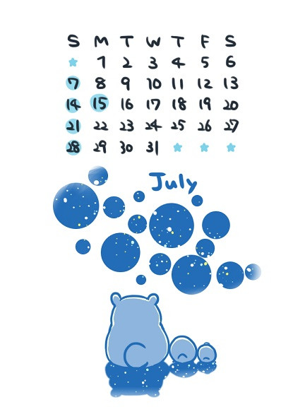 7月カレンダー こゆるぎ さんのイラスト ニコニコ静画 イラスト
