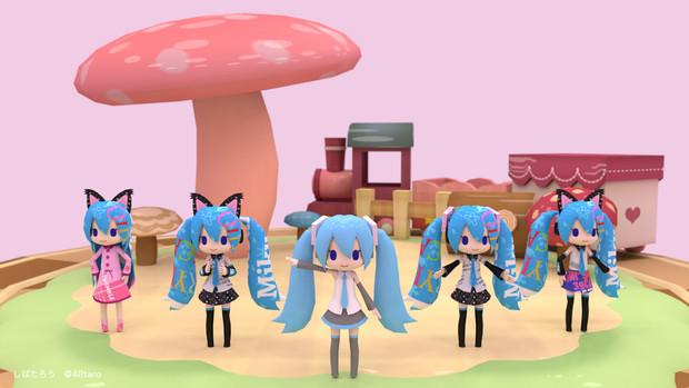 ミロさん風ミクの人形劇風。今度は5人だよ。 (Blender)