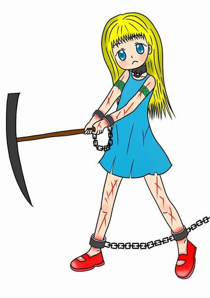 奴隷王女、ツルハシを振るう。