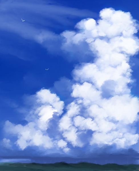 フリー素材_夏の入道雲2_習作