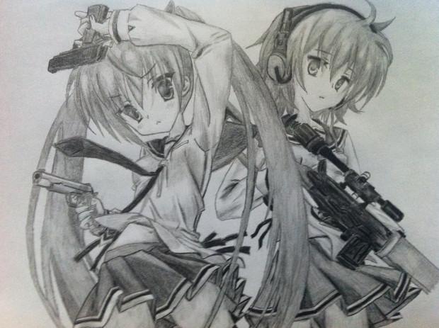 2年前に描いたアリアとレキ