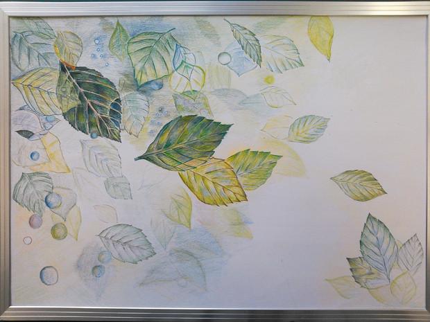 塗り絵 。葉っぱ。完成、さかさまにならないよう再投稿。