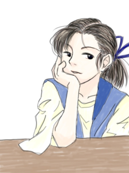 頬杖をつく女性 軒崎風林 さんのイラスト ニコニコ静画 イラスト