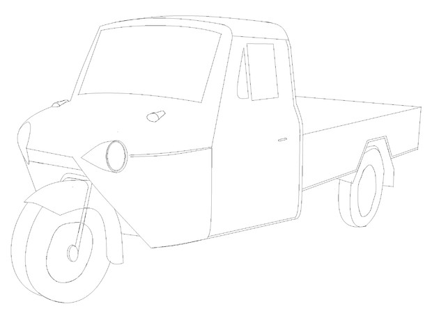 三輪自動車塗り絵