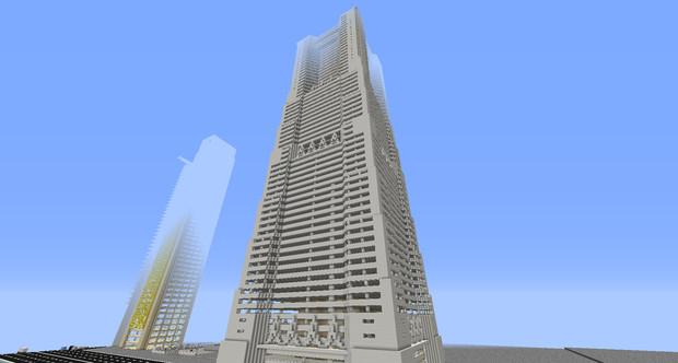 Minecraft 横浜ランドマークタワー さくら さんのイラスト