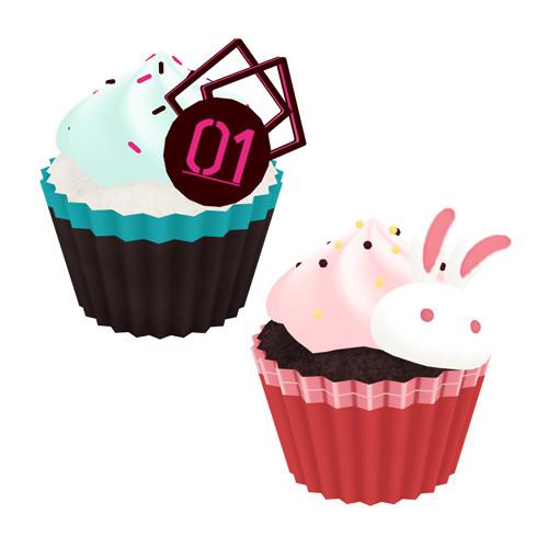 ミクとユキのカップケーキ