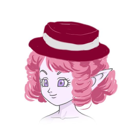縦ロールを小さくまとめて帽子をかぶったエル子さんみたいです。