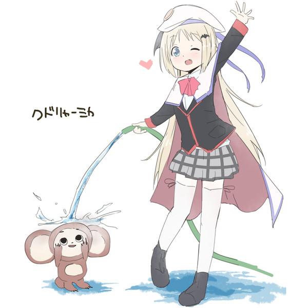 クドリャフカが笑顔でチェブラーシカに水をかけている画像ください