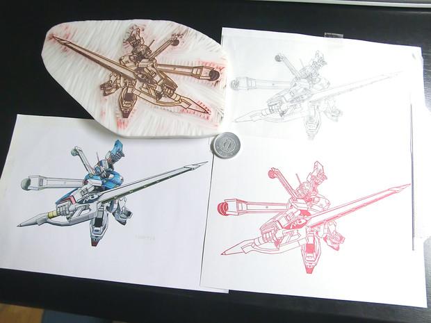 [消しゴムはんこ] クロスボーン・ガンダムX3を彫ってみた