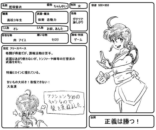 架空アニメ「疾風ガール」キャラ設定②「ちゃんゆい」