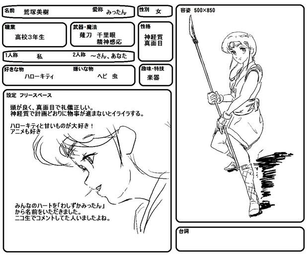 架空アニメ「疾風ガール」キャラ設定③「みったん」