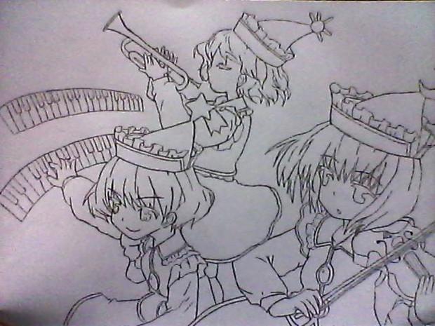 プリズムリバー三姉妹を描いてみた。