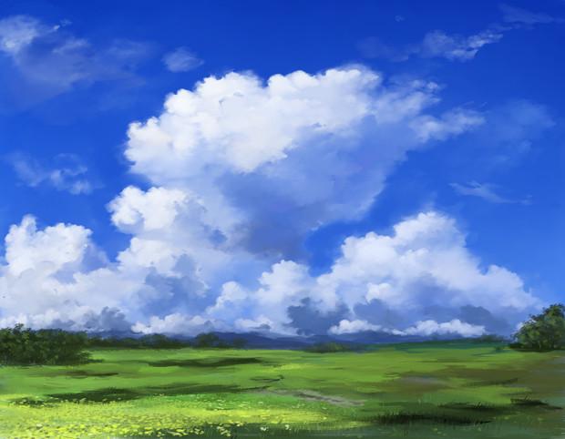 フリー素材――入道雲描いてみる