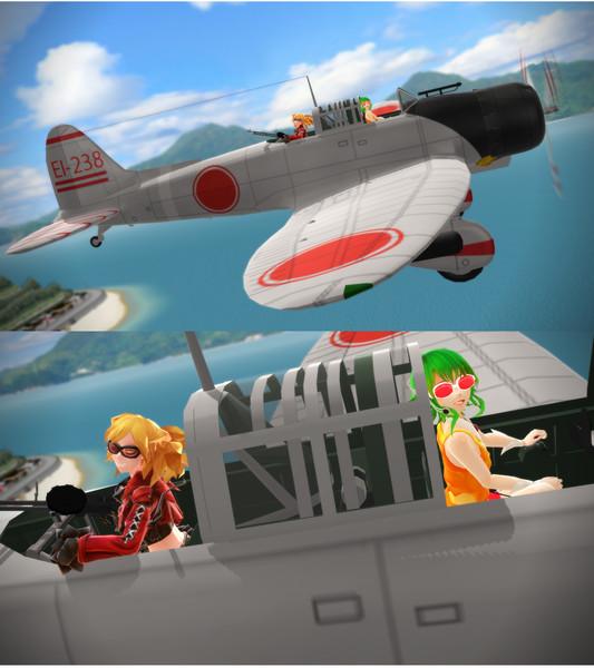 【MMD】飛行眼鏡のふたり【九九式艦爆に乗って】