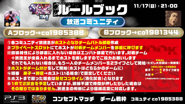 【企画枠】11/17 PS3版 スパⅣチーム戦2on GカップTAG  ルール