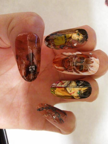 【痛ネイル】爪に進撃の巨人のエレン・イェーガーを描いてみた。