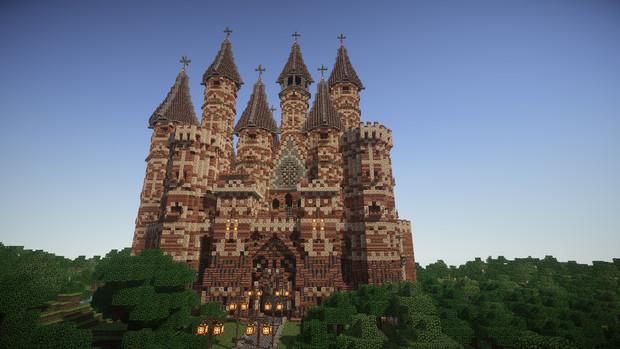 マインクラフト建築 茶色い屋根の城