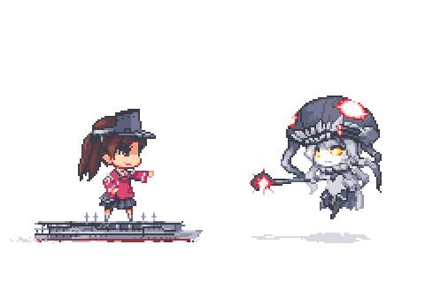 RJちゃん vs ヲ級ちゃん(アニメGIF)
